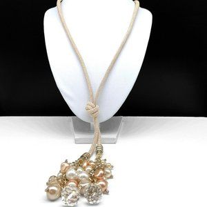 Chico's Faux Pearl Beaded Cord Lariat Necklace